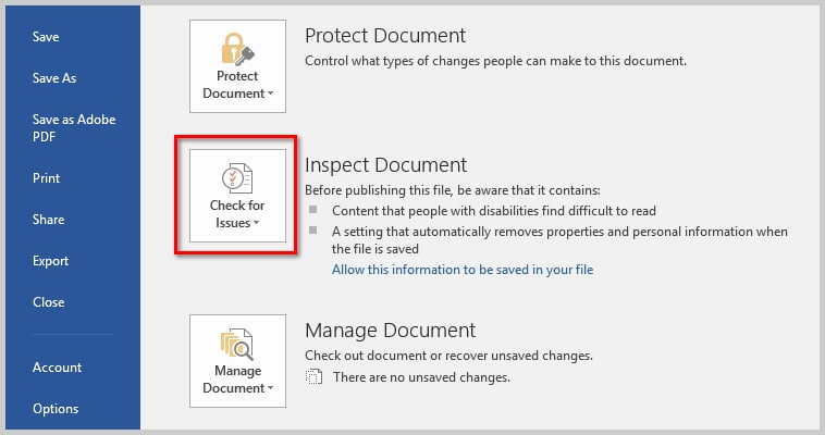 How to Remove User Names from Existing Track Changes in Microsoft Word | Image of Check for Issues Button