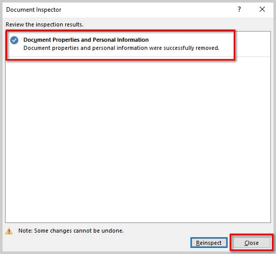 How to Remove User Names from Existing Track Changes in Microsoft Word | Image of Document Inspector Inspection Results