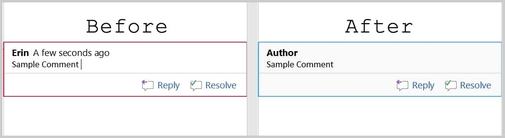 How to Remove User Names from Existing Track Changes in Microsoft Word | Before and After Image of Changed User Name