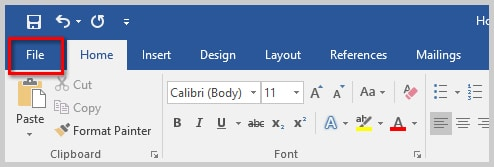 How to Remove User Names from Existing Track Changes in Microsoft Word | Image of Word 2016 File Tab