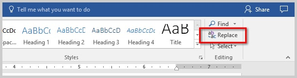 How to Find and Replace Special Characters in Microsoft Word | Image of the Replace Option