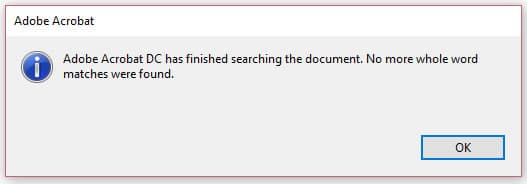 Image of Adobe Acrobat Pro DC All Matches Found Dialog Box | How to Find and Replace Text in Adobe Acrobat DC