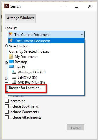 Image of Adobe Acrobat DC Advanced Search Dialog Box Look In Menu Browse for Location | How to Search Multiple PDFs with Adobe Acrobat's Advanced Search