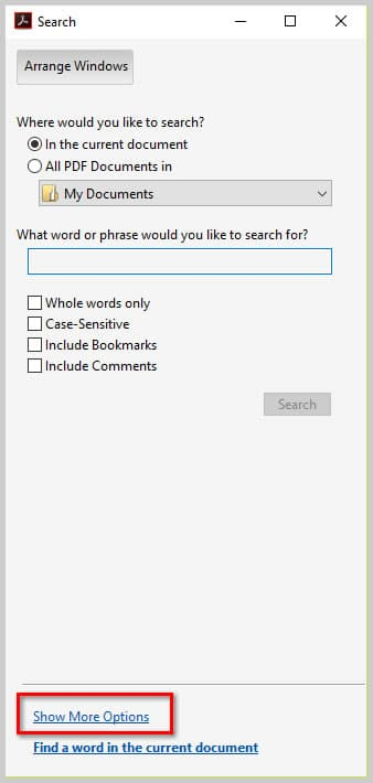 Image of Adobe Acrobat DC Advanced Search Dialog Box | How to Search Multiple PDFs with Adobe Acrobat's Advanced Search