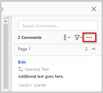 Image of Adobe Acrobat DC Comment Pane Options Button | How to Print PDFs with Comments and Mark-Ups in Adobe Acrobat DC
