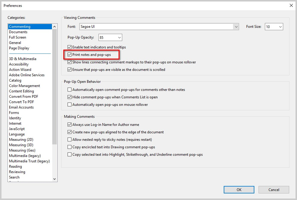 Image of Adobe Acrobat DC Preferences Dialog Box | How to Print PDFs with Comments and Mark-Ups in Adobe Acrobat DC