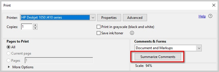 Image of Adobe Acrobat DC Summarize Comments Button | How to Print PDFs with Comments and Mark-Ups in Adobe Acrobat DC