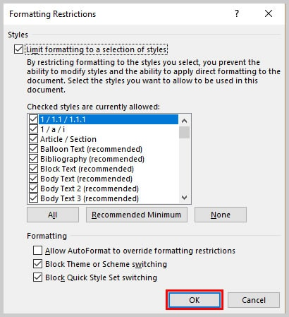 Microsoft Word Formatting Restrictions Dialog Box OK Button | How to Restrict Style Changes in Microsoft Word