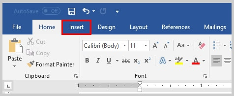 Image of Microsoft Word 2016 Insert Tab | Step 2 in How to Insert Copyright, Trademark, and Registered Marks in Microsoft Word