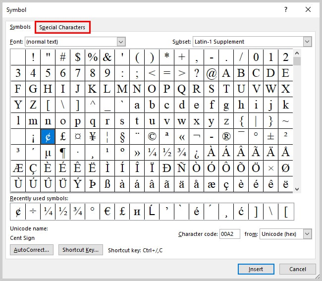 Image of Microsoft Word 2016 Symbol Dialog Box | Step 5 in How to Insert Copyright, Trademark, and Registered Symbols in Microsoft Word