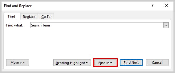 Image of Find and Replace Dialog Box with Find In Button Highlighted | How to Search Within Comments in Microsoft Word
