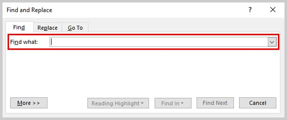 Image of Find What Text Box in Find and Replace Dialog Box | How to Search Within Comments in Microsoft Word