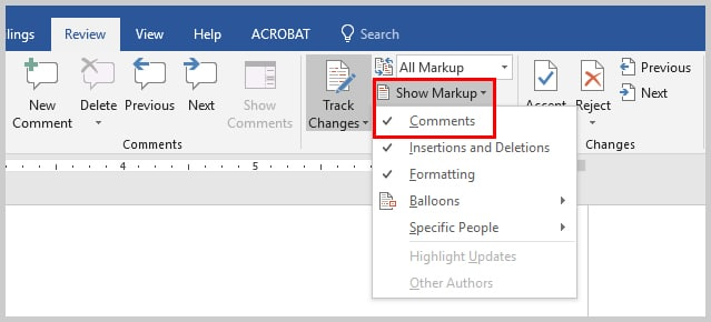 Image of Microsoft Word Show Markup Option with Comments Selected | How to Search Within Comments in Microsoft Word