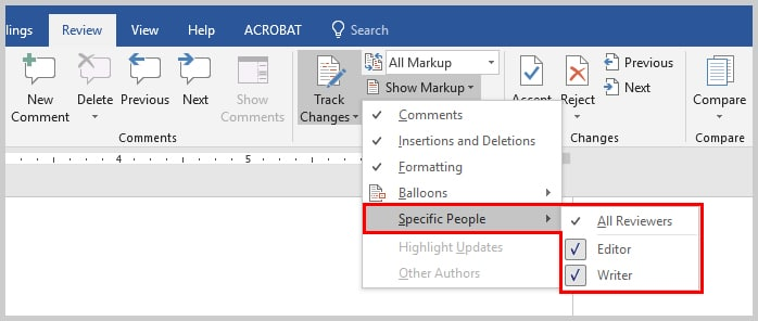 Image of Microsoft Word Specific People Option | How to Search Within Microsoft Word Comments