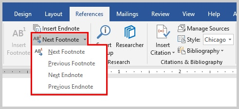 Image of Microsoft Word 2016 Next Footnote Options | How to Convert Individual Footnotes to Endnotes