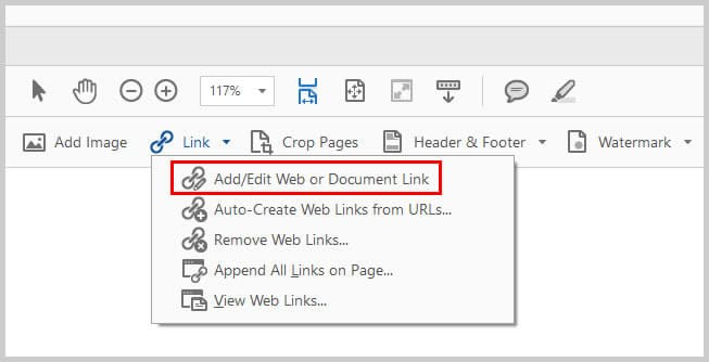 Image of Adobe Acrobat Add/Edit Web or Document Link   Step 4 in How To Create Internal Links in PDFs
