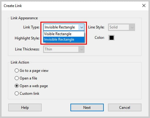 Image of Adobe Acrobat Link Type Options   Step 6 in How to Create Internal Links in PDFs