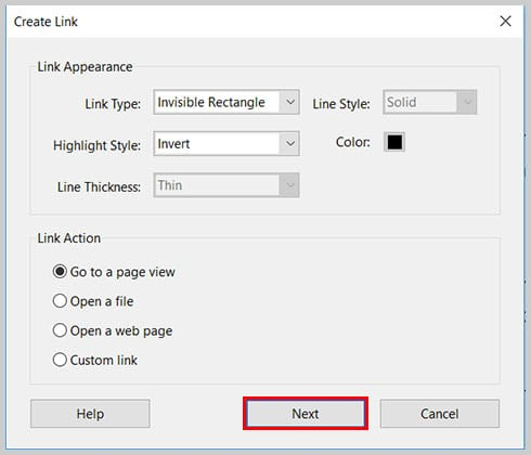 Image of Create Link Dialog Box Next Button   Step 8 in How to Create Internal Links in PDFs