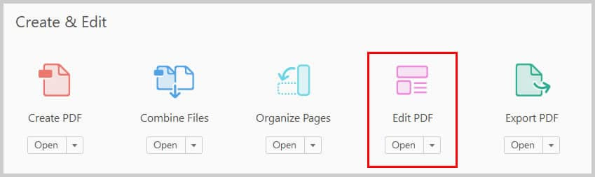 Image of Adobe Acrobat Edit PDF Icon   Step 2 in How to Create Internal Links in PDFs