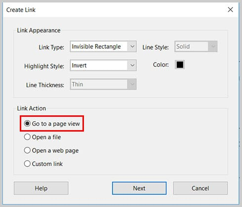 Image of Go to a page view option   Step 7 in How to Create Internal Links in PDFs