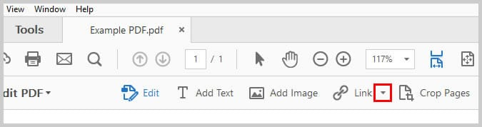 Image of Adobe Acrobat Link Down Arrow   Step 3 in How to Create Internal Links in PDFs