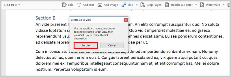 Image of selected view   Step 10 in How to Create Internal Links in PDFs