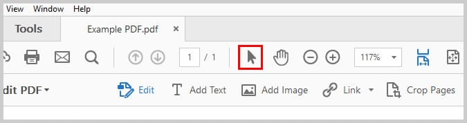 Image of Adobe Acrobat Selection Tool   Step 11 in How to Create Internal Links in PDFs