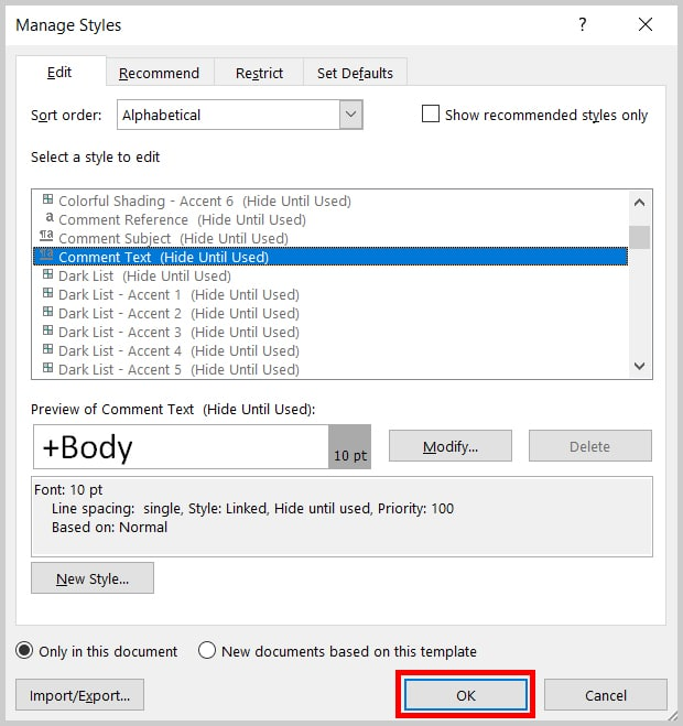 Image of Word 2019 Manage Styles Dialog Box OK Button | Step 10 in How to Change to Font and Font Size of Comments in Word