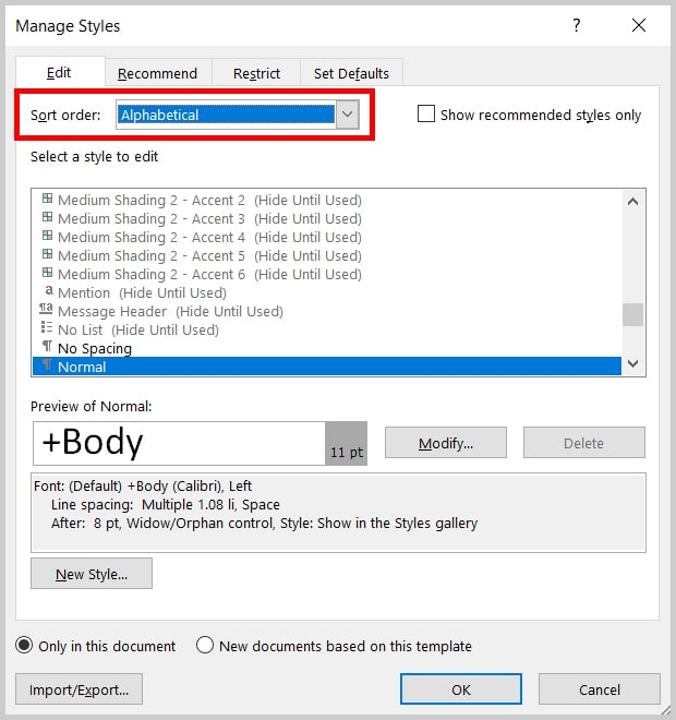 Word 2019 Manage Styles Dialog Box Sort Order | Step 4 in How to Change the Font and Font Size of Comments in Word