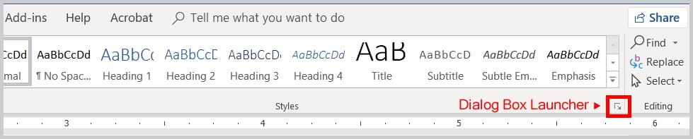Image of Word 2019 Styles Dialog Box Launcher | Step 2 in How to Change the Font and Font Size of Comments in Word