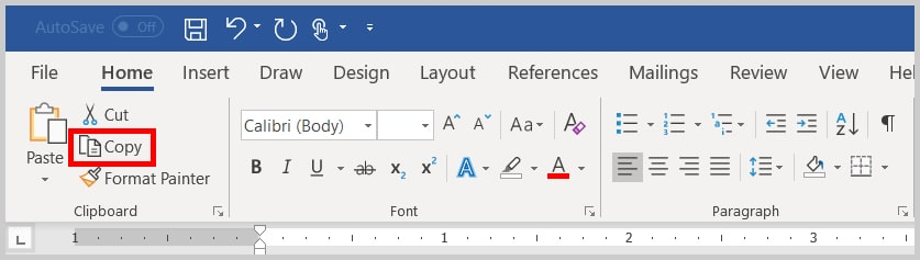 Image of the Word 365 / Word 2019 Copy in the Clipboard Group | Step 6 in How to Copy and Paste Text with Comments and Track Changes in Word