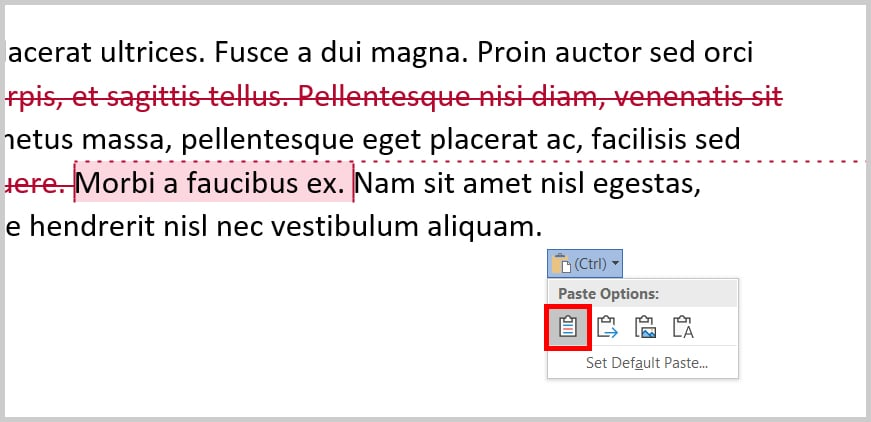 Image of Word 365 / Word 2019 Paste Options Pop=Up Menu