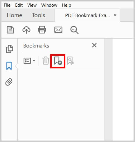 Image of Acrobat New Bookmark Button in Bookmark Panel | Step 2 in Create a Bookmark from the Bookmark Panel