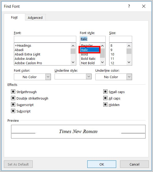 Image of Word 365 / Word 2019 Italic Option in the Find Font Dialog Box   Step 7 in How to Find and Replace Formatting Applied Anywhere in a Word Document