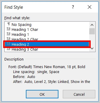 Image of Word 365 / Word 2019Heading 2 in the Find Style Dialog Box   Step 7 in How to Find and Replace Formatting Applied to Specific Text in a Word Document