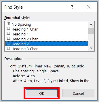 Image of Word 365 / Word 2019 OK Button in the Find Style Dialog Box   Step 8 in How to Find and Replace Formatting Applied to Specific Text in a Word Document