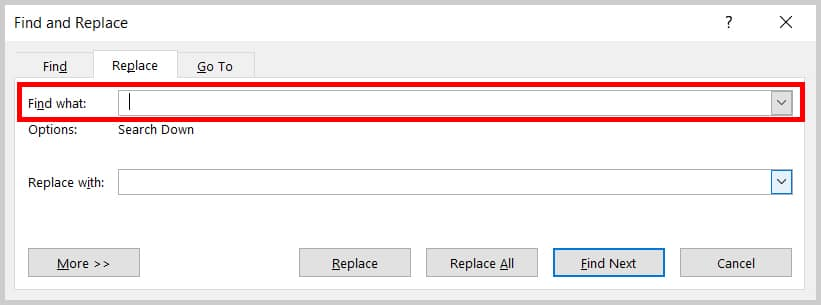 Image of Word 365 / Word 2019 Find What Text Box in the Find and Replace Dialog Box   Step 3 in How to Find and Replace Formatting Applied Anywhere in a Word Document