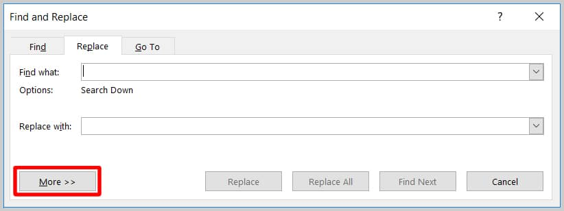 Image of Word 365 / Word 2019 More Button in the Find and Replace Dialog Box   Step 4 in How to Find and Replace Formatting Applied Anywhere in a Word Document