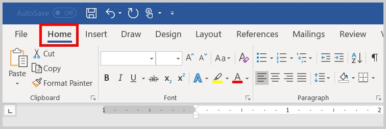 Image of Word 365 / Word 2019 Home Tab   Step 1 in How to Find and Replace Formatting Applied Anywhere in a Word Document