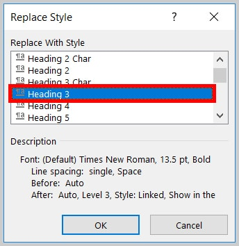Image of Word 365 / Word 2019 Heading 3 in the Replace Style Dialog Box   Step 12 in How to Find and Replace Formatting Applied to Specific Text in a Word Document