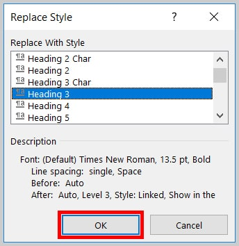 Image of Word 365 / Word 2019 OK Button in the Replace Style Dialog Box   Step 13 in How to Find and Replace Formatting Applied to Specific Text in a Word Document
