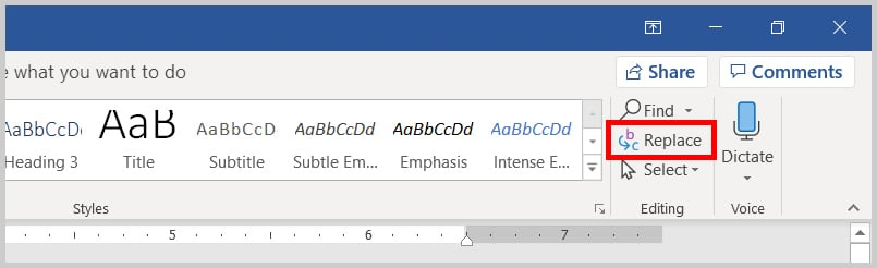 Image of Word 365 / Word 2019 Replace in the Ribbon   Step 2 in How to Find and Replace Formatting Applied Anywhere in a Word Document