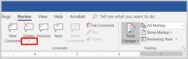 Image of the Word 2019 / Word 365 Delete Comment Options Arrow