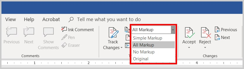 Image of the Word 2019 / Word 365 Display for Review Menu | Step 1 in How to Show Track Changes