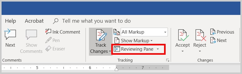 Image of Word 2019 / Word 365 Reviewing Pane Option in the Tracking Group