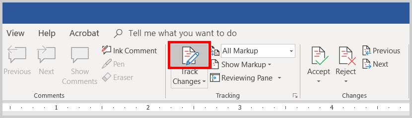 Image of Word 2019 / Word 365 Track Changes Turned On | Step 2 in How to Turn On Track Changes