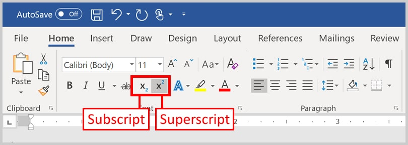Image of the buttons to insert superscripts and subscripts in Microsoft Word