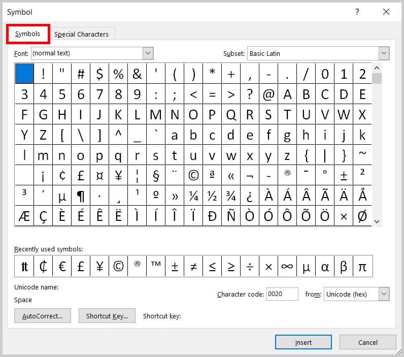Image of the Word 2019 / Word 365 Symbols Tab in the Symbol Dialog Box
