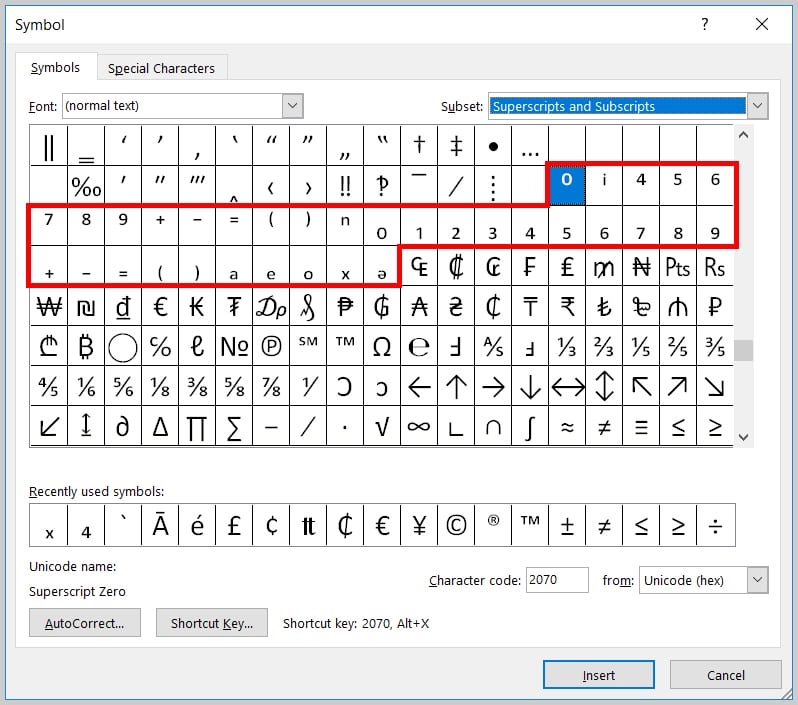 Image of Word 2019 / Word 365 Superscripts and Subscripts in the Symbol Dialog Box
