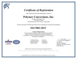 ISO-9001:2015 Polymer Conversions - PCI Certification